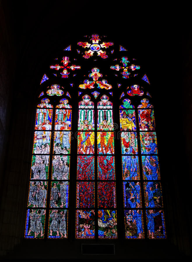 Stained-glass window in the St. Vitus cathedral, Praha, Czech Re royalty free stock photography