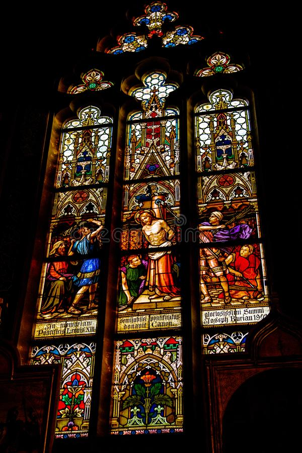 Stained glass window in the temple royalty free stock image