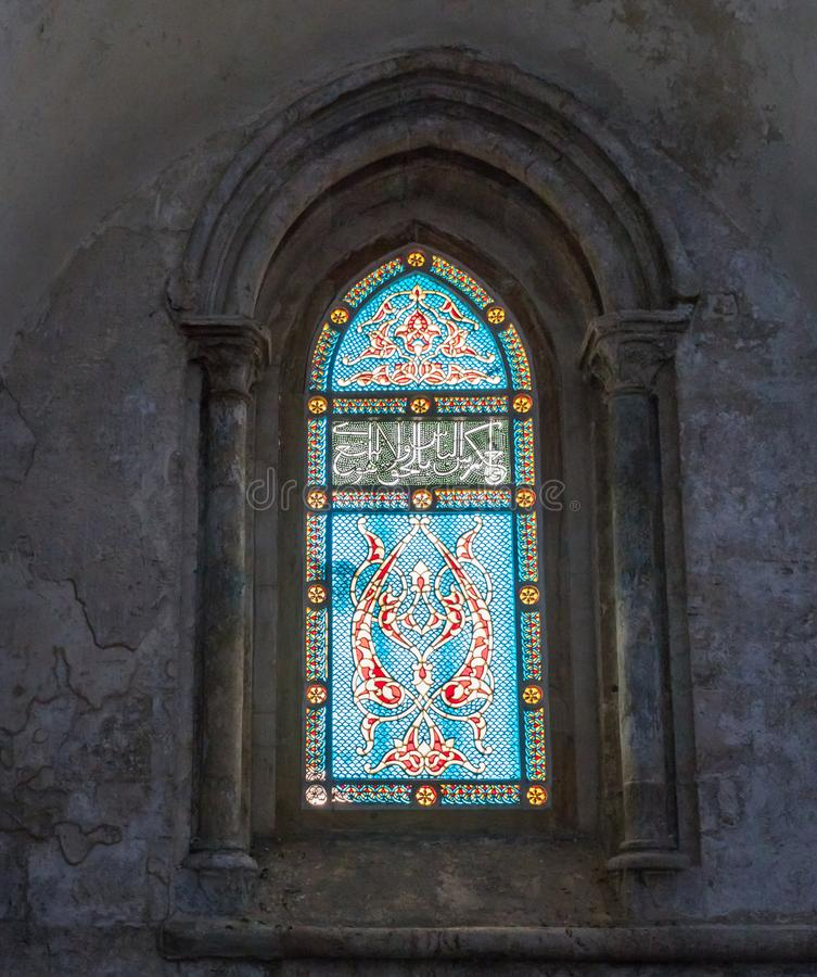 Stained glass window in the upper room of the Last Supper - Cenacle - in old city of Jerusalem, Israel royalty free stock photos