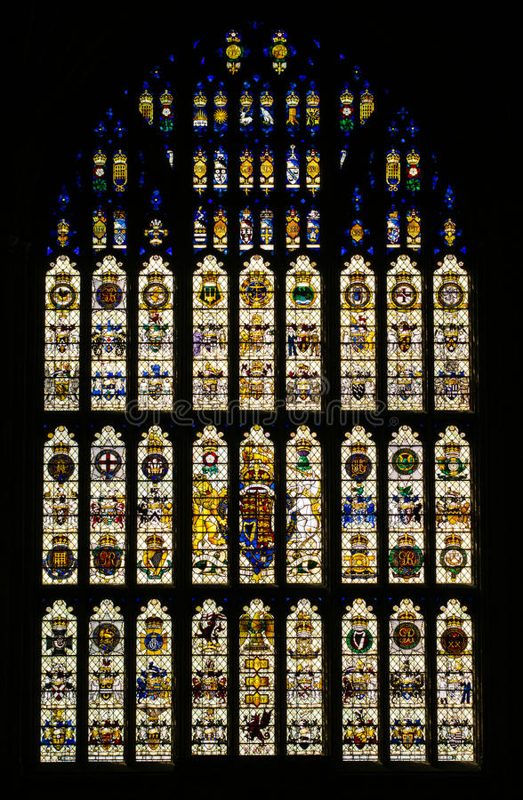 Stained Glass Window Westminster Hall London. The stained glass window in St Stephens Porch, Westminster Hall, a memorial to staff and members of both Houses of stock photography