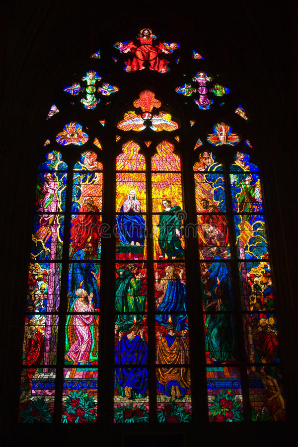 Stained glass window. S of St. Vitus in Prague, Czech Republic royalty free stock images