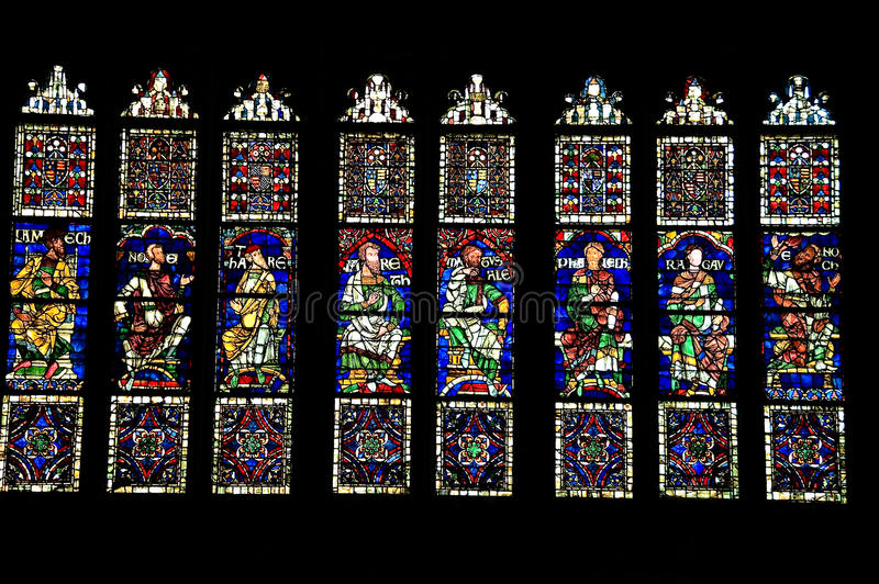 Stained-glass windows. In Canterbury Cathedral in Kent, United Kingdom stock images