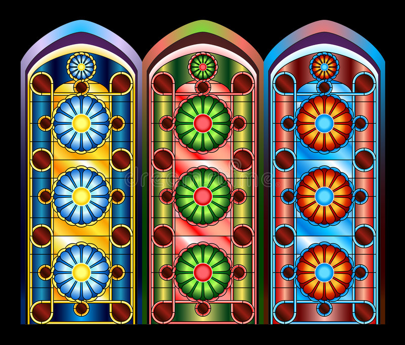 Stained glass windows royalty free illustration
