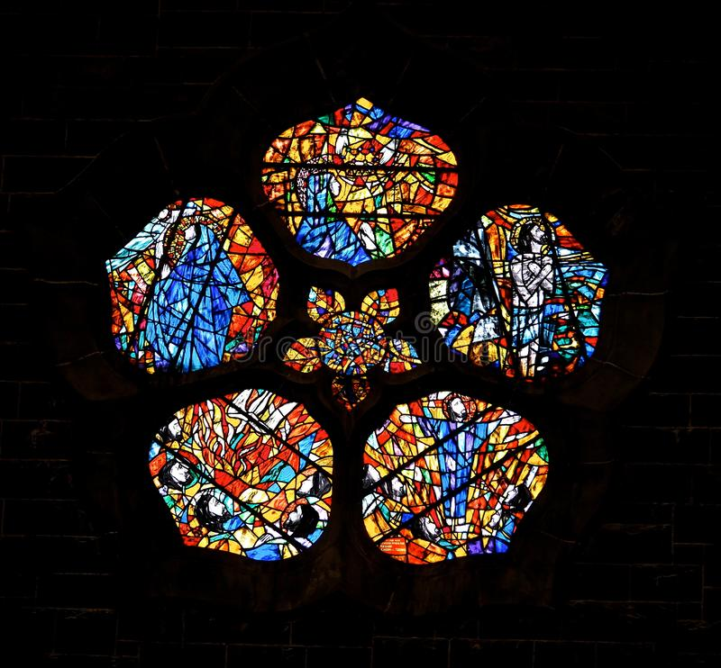 Free Stained Glass Windows At Galway Cathedral Ireland Stock Photo - 135388050