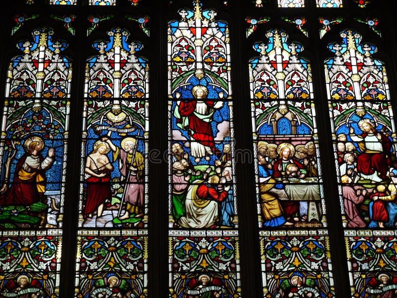Stained Glass windows in Burnley Lancashire. Beautiful Victorian Stained Glass Windows in St Peters Parish Church in Burnley Lancashire England stock photos
