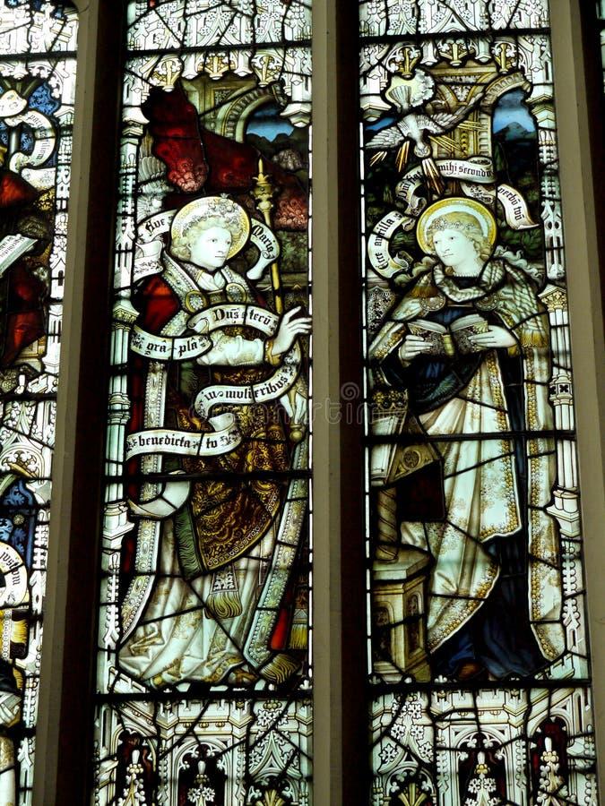 Stained Glass windows in Burnley Lancashire. Beautiful Victorian Stained Glass Windows in St Peters Parish Church in Burnley Lancashire England stock photo