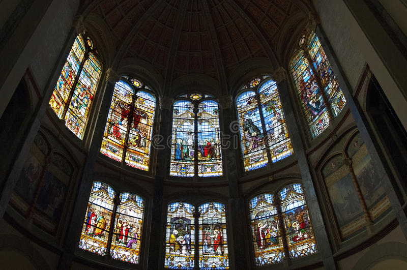 Stained-glass windows in Dome church Hoorn. Netherlands, North Holland province, city, small town Hoorn: interior of Sts Cyriacus and St. Francis Church or Dome royalty free stock images