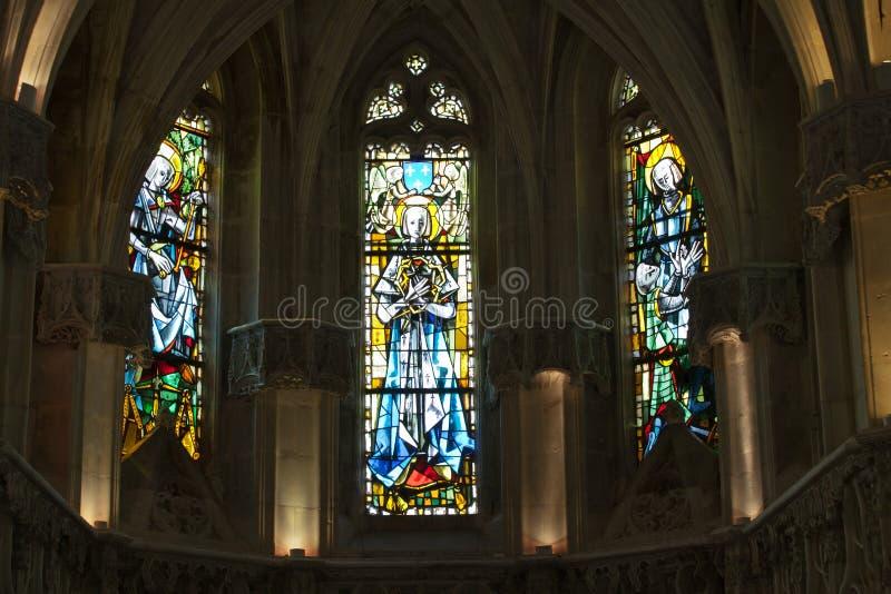 The stained glass windows inside Chapel St. Hubert. Where Leonardo Da Vinci is buried in Amboise, France stock photo