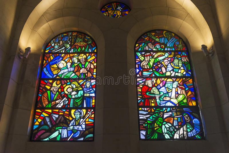 Stained glass windows inside manila cathedral in philippines royalty free stock photo