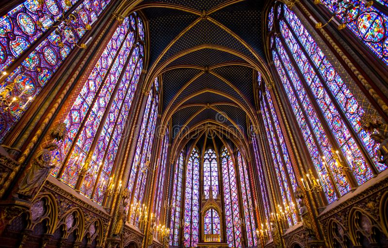 Stained glass windows inside the Sainte Chapelle in Paris, France. stock image