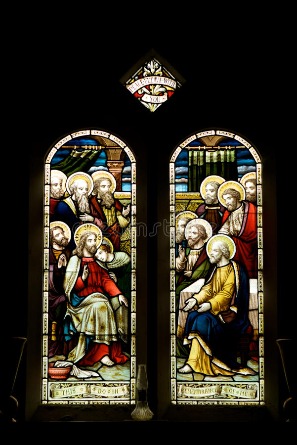 Free Stained Glass Windows, Jesus & 11 Disciples Stock Image - 11442231