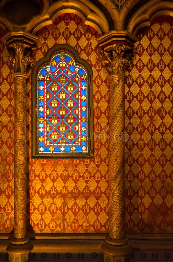 Stained glass windows of Saint Chapelle royalty free stock photos