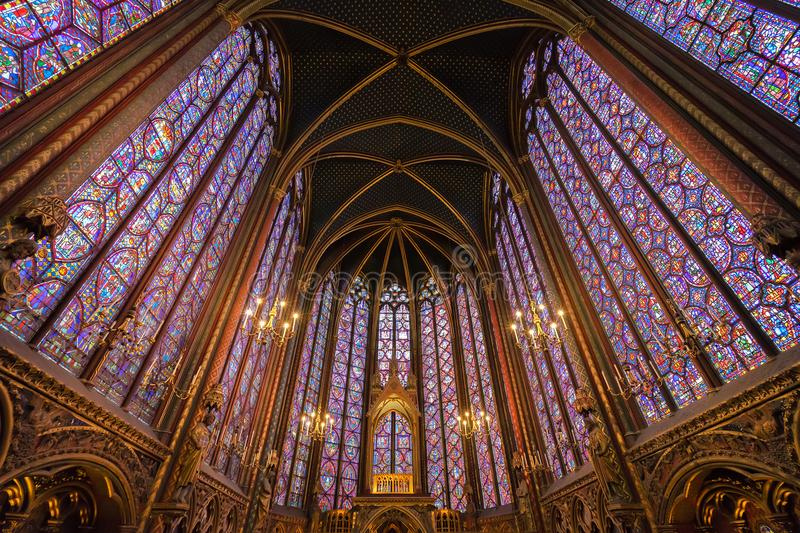 Stained glass windows of Saint Chapelle stock images