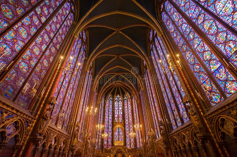 Stained glass windows of Saint Chapelle stock image