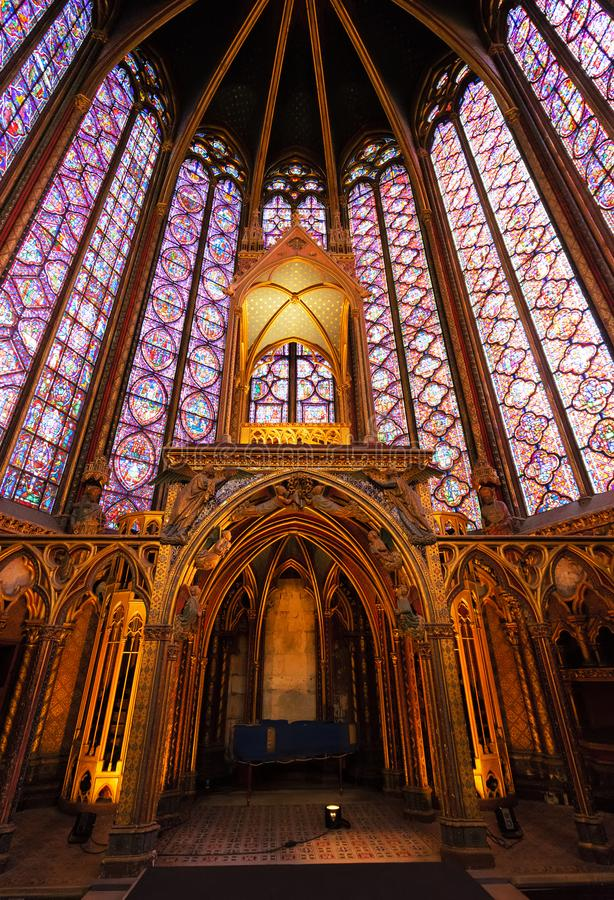 Stained glass windows of Saint Chapelle stock photography