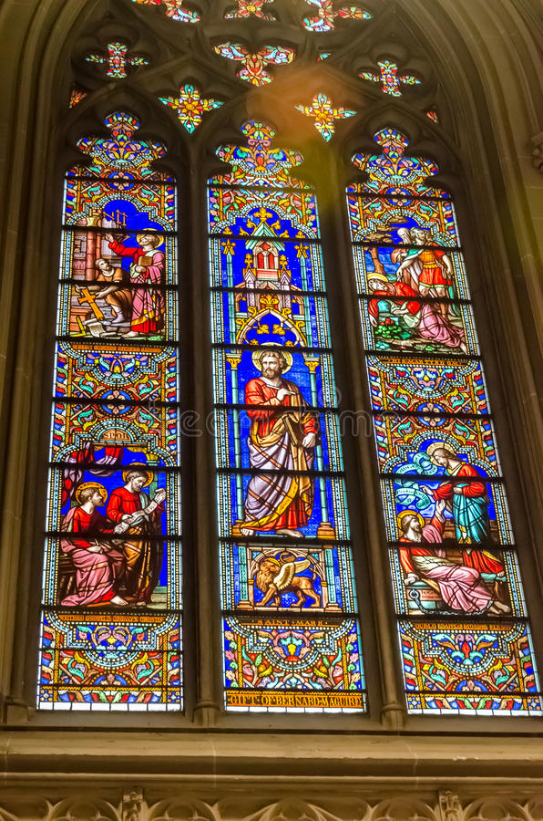 Stained glass windows of the Saint Patrick`s Cathedral stock photography