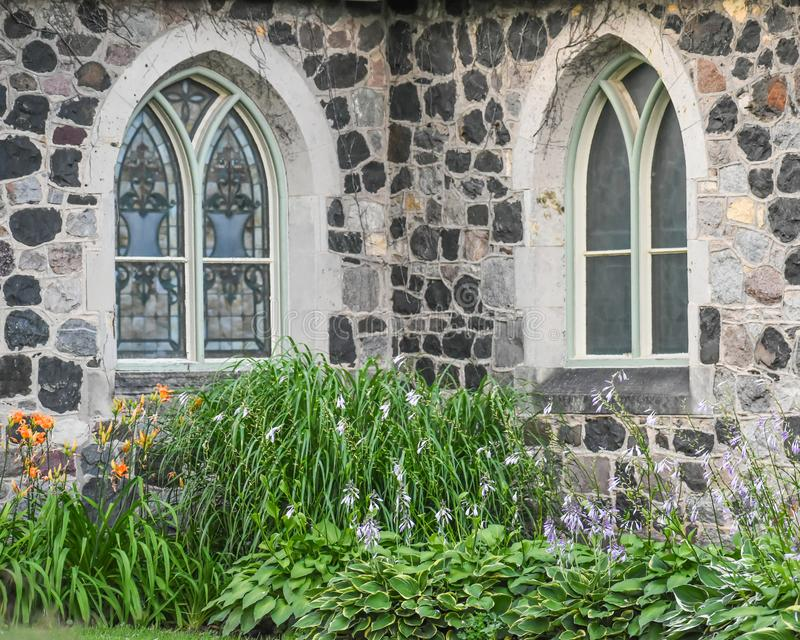 Stained Glass Windows Stone Church Building royalty free stock photos