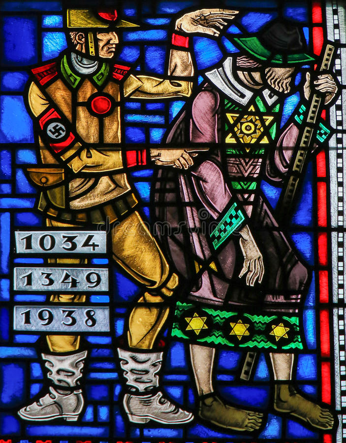 Stained Glass in Worms - Antisemitism in Nazi Germany stock images