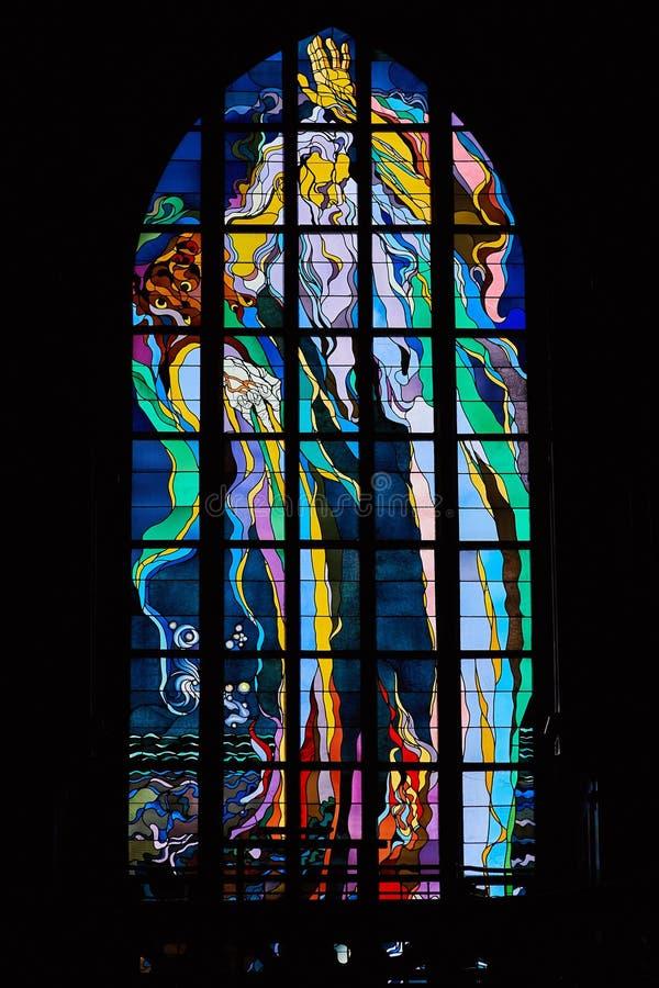Stained-glass Wyspianski ` s Stanislaw παράθυρο στοκ εικόνες