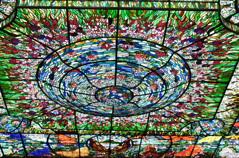 Stained-glass in Xcaret, Mexico stock foto's
