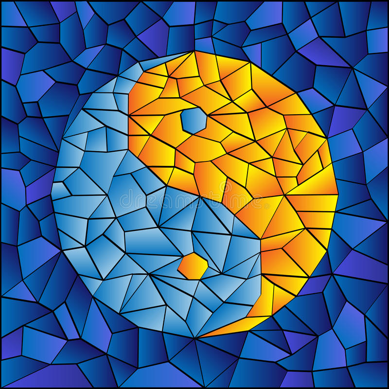 Stained Glass Yin Yang. Symbol in blue and orange stock illustration