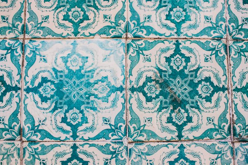Decorative turquoise tiles on a building in Lisbon, Portugal royalty free stock images