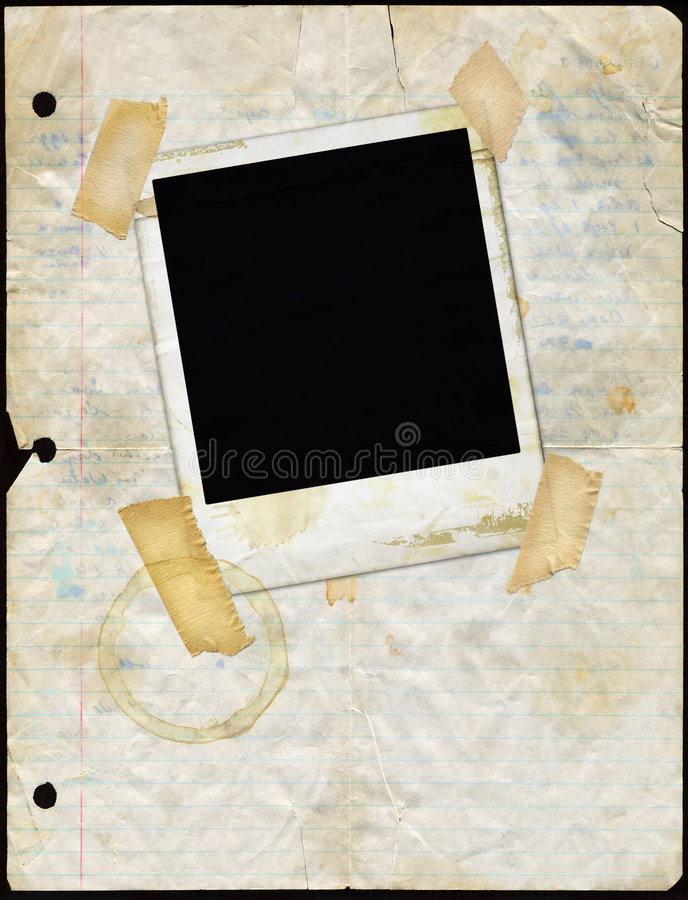 Free Stained Loose Leaf Paper With Polaroid Stock Image - 902261