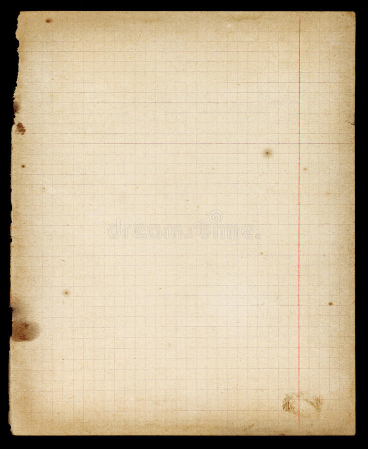Free Stained Old Lined Copybook Page With Margins Royalty Free Stock Images - 81354999