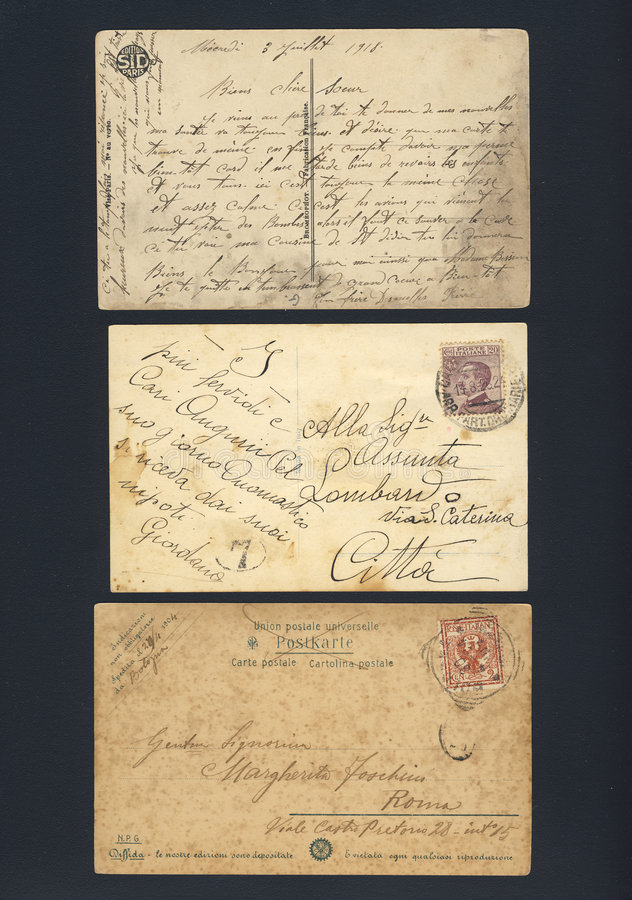 Stained old written postcards royalty free stock photography