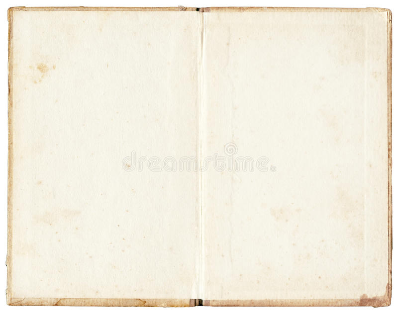 Stained open book on white background royalty free stock image