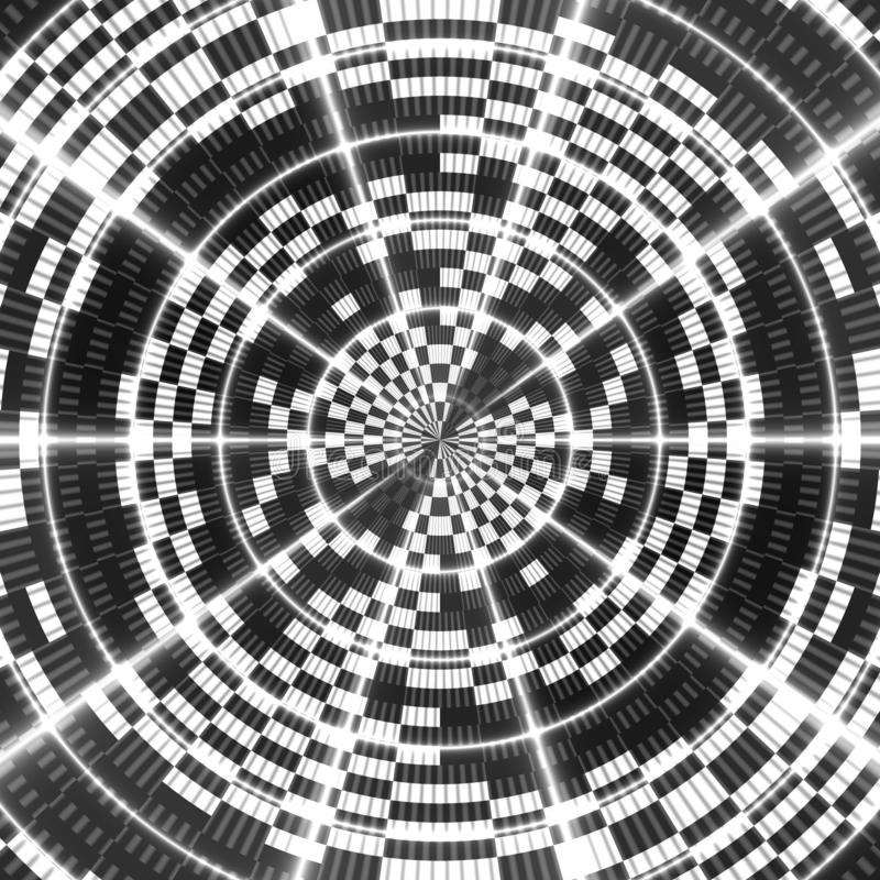 Asymmetrical abstract black and white kaleidoscopic background stock illustration