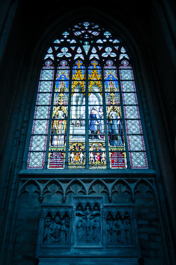Stained window in church stock images