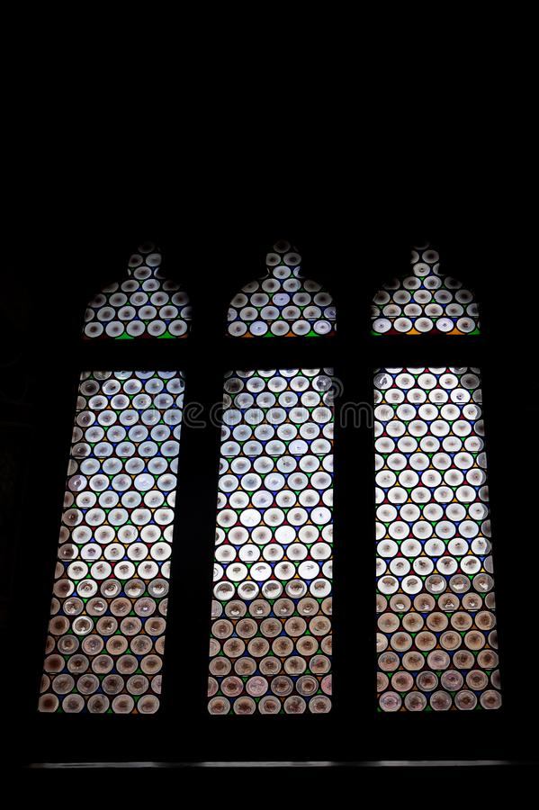 Stained window, glass in lead, Palazzo pubblico, ,  Siena, Tuscany, Italy stock photos