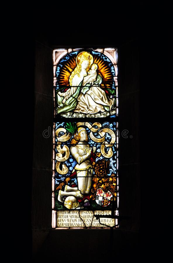 Free Stained Window In Castle Chateau Du Haut-Koenigsbourg In Alsace Stock Photos - 169025533