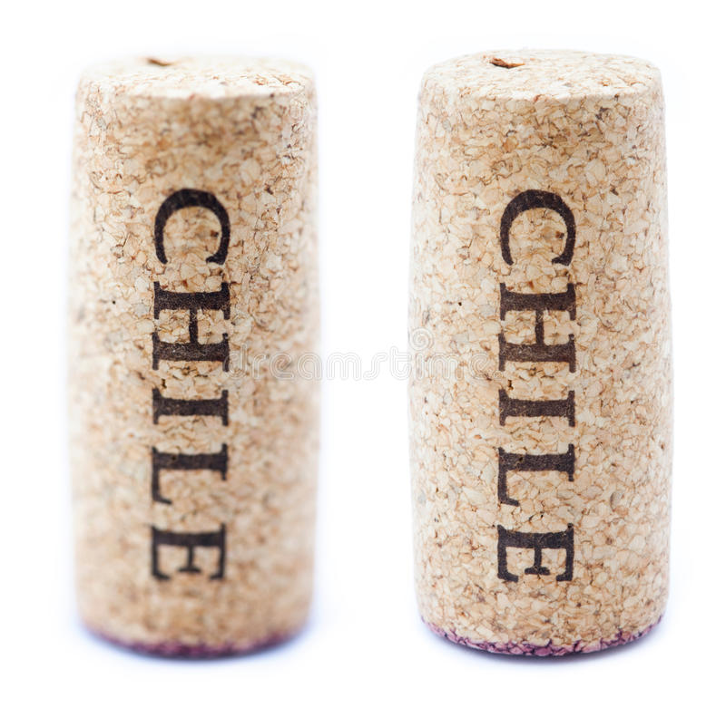 Chile Wine Corks. A stained wine cork with 'Chile' written on it, on white background, in vertical position with the writing pointing downwards. Two types of royalty free stock image