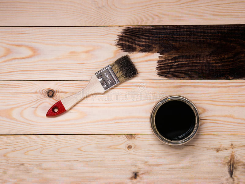 Staining wood stain. Staining wood brown stain background royalty free stock image