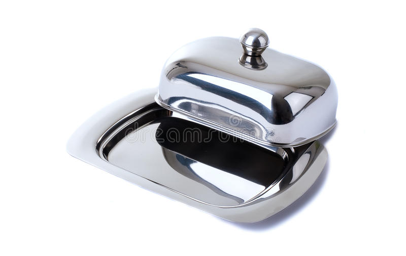 Download Stainless Butterdish On A White Background Stock Image - Image: 12648841