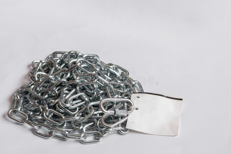Stainless chain with label. Leash for dog royalty free stock photo