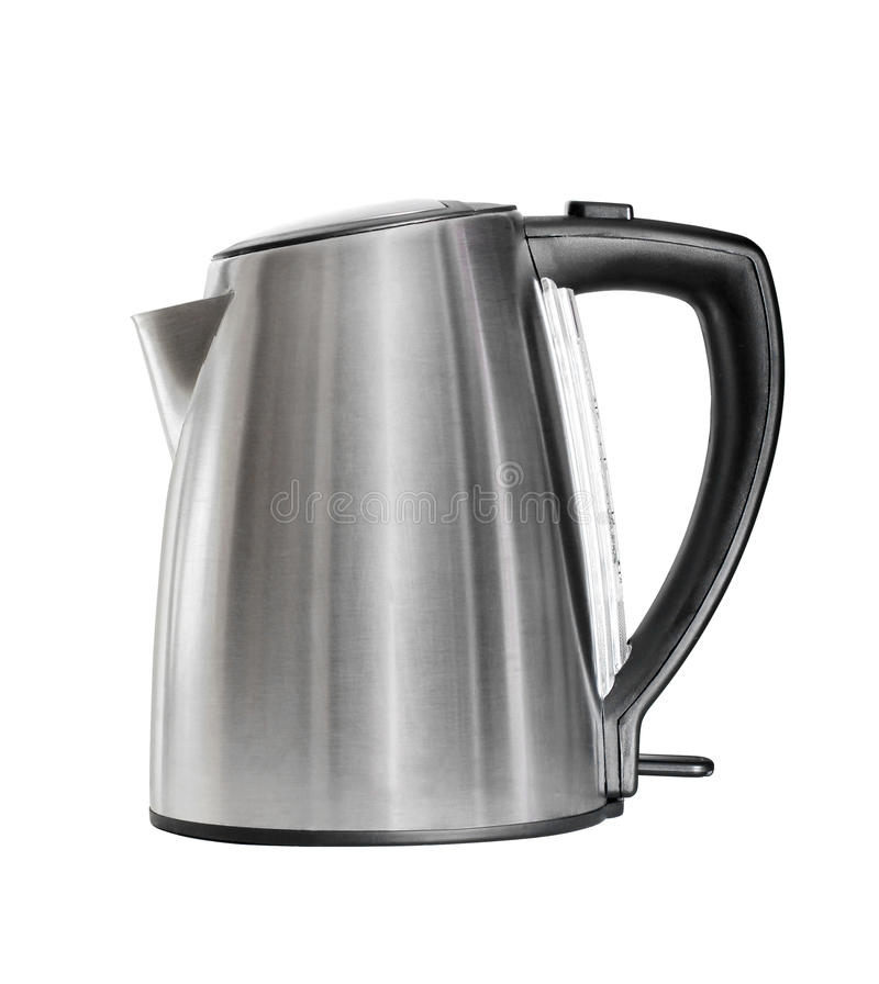 Stainless electric kettle isolated over white. Stainless electric kettle isolated on white royalty free stock image