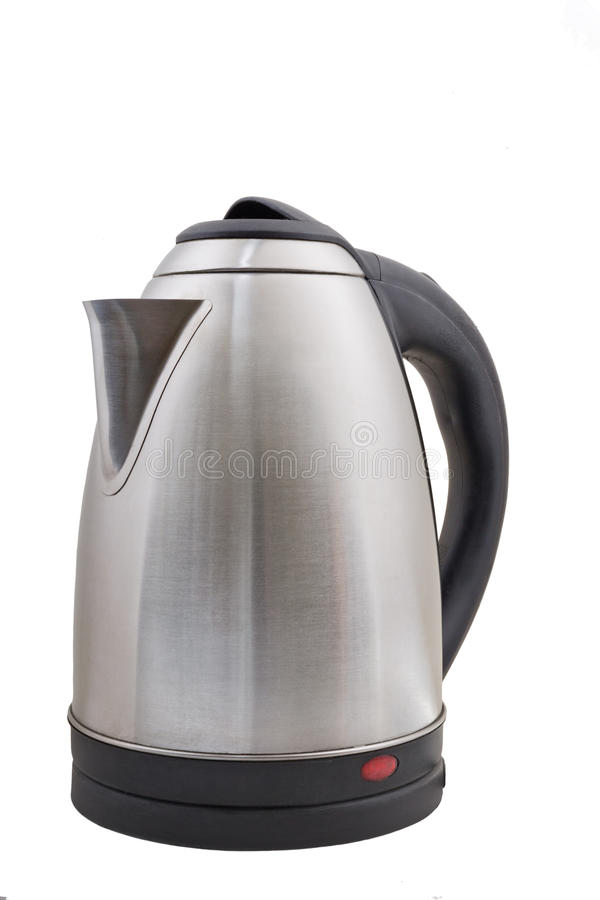 Stainless electric kettle isolated on white. Background royalty free stock photos