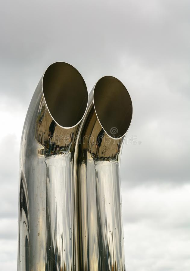 Stainless exhaust pipe for a large off-road vehicle. stock photos