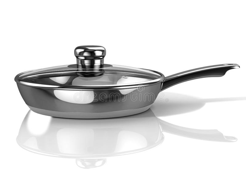 Stainless frying pan with glass lid. 3D Illustration. 3D Illustration vector illustration