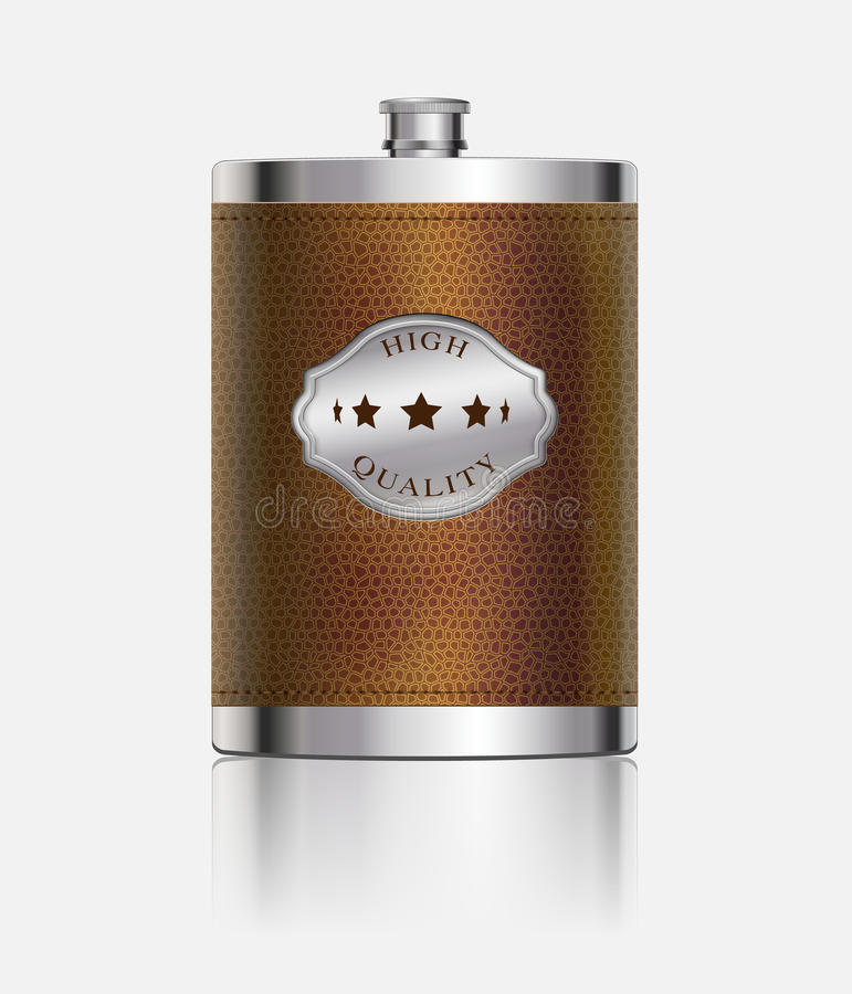 Stainless hip flask wrapped in leather
