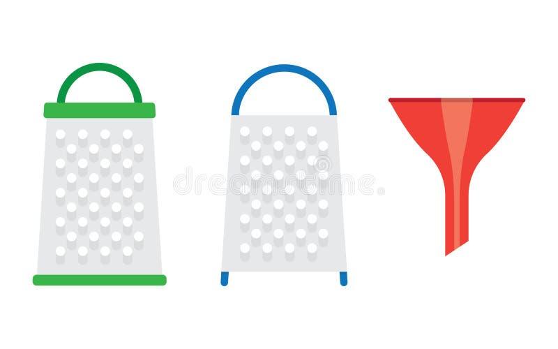 Stainless kitchen grater stock illustration