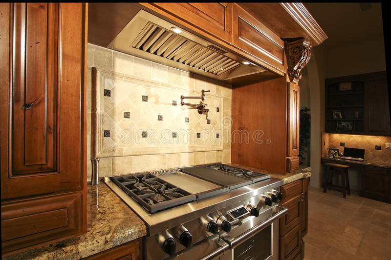Stainless kitchen oven range and hood stock image