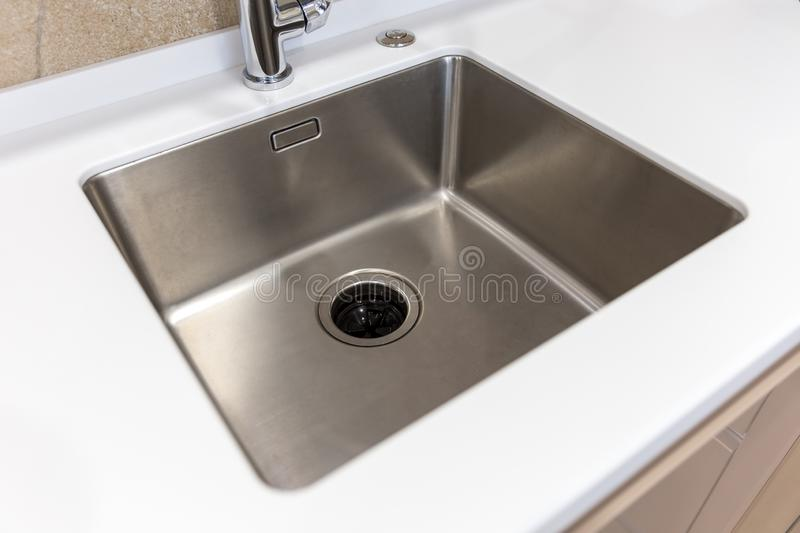 Stainless kitchen sink with food waste disposal in modern home. Stainless kitchen sink with food waste disposal royalty free stock photos