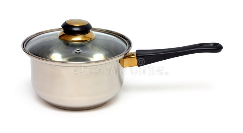 Stainless pot with handle stock image