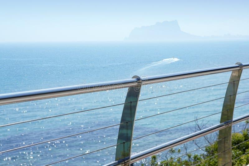 Stainless Steel Balcony Mediterranean Sea Moraira Stock Image