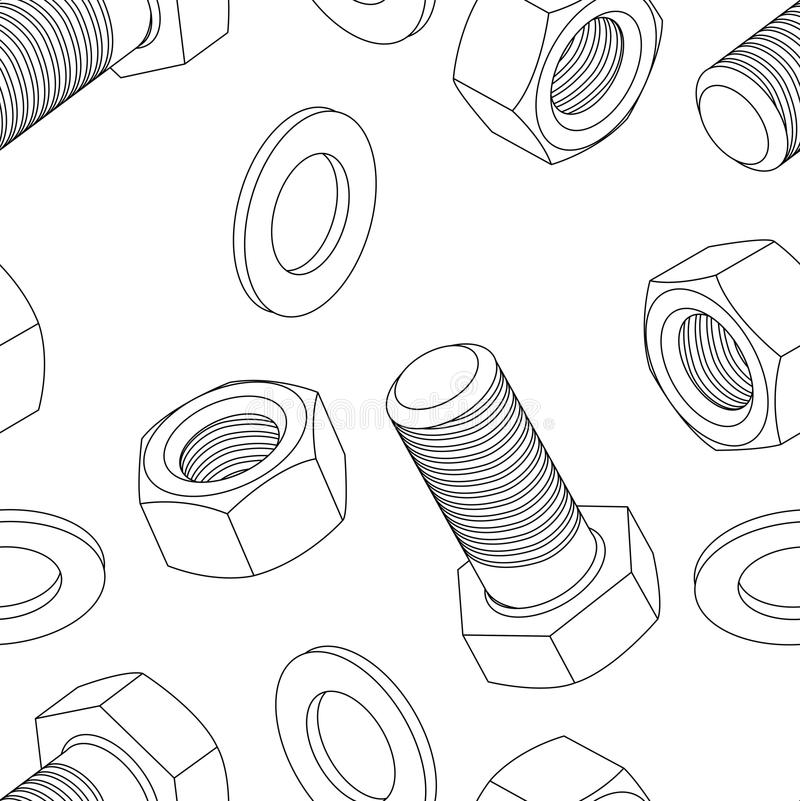 Stainless steel bolt and nut. Seamless wallpaper, vector illustration stock illustration