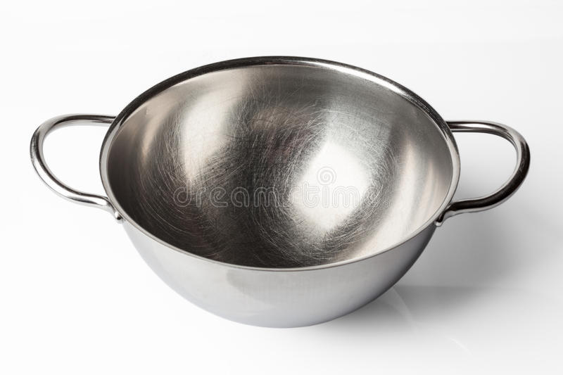 Stainless steel bowl from high angle on white royalty free stock photo